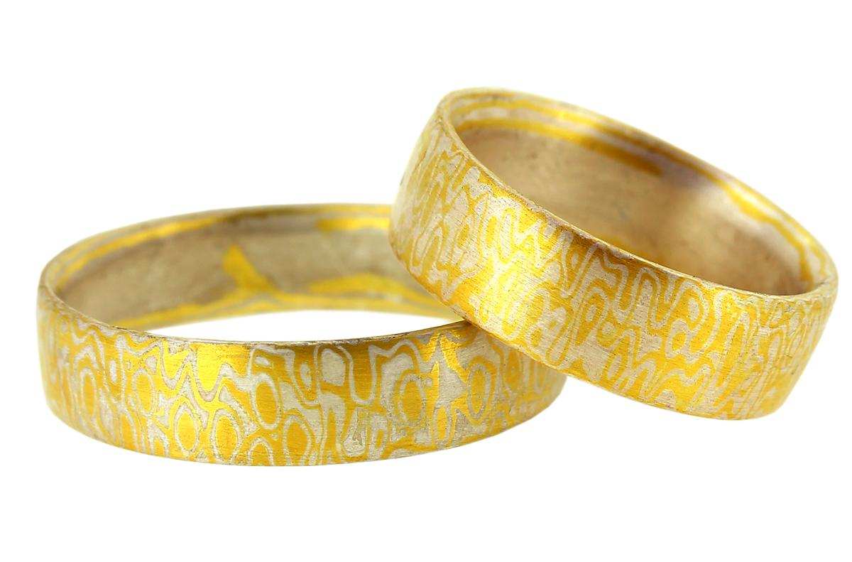 Mokume Gane Eheringe Augemuster in Gold und Silber