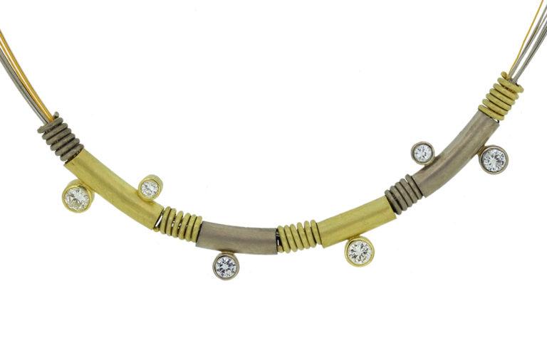 Collierbicolor mit Brillanten in Weißgold und Gelbgold