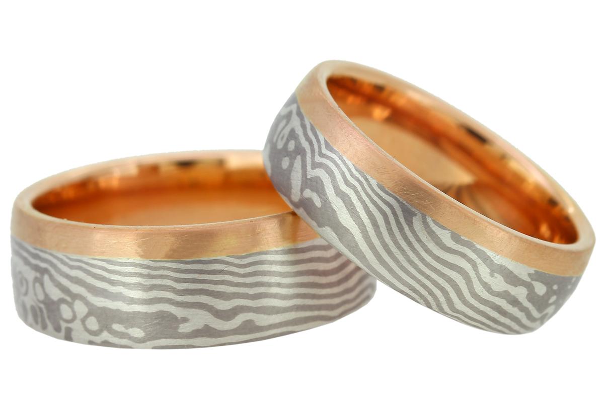 Mokume Gane Silber Palladium Rotgold gewellte Linien