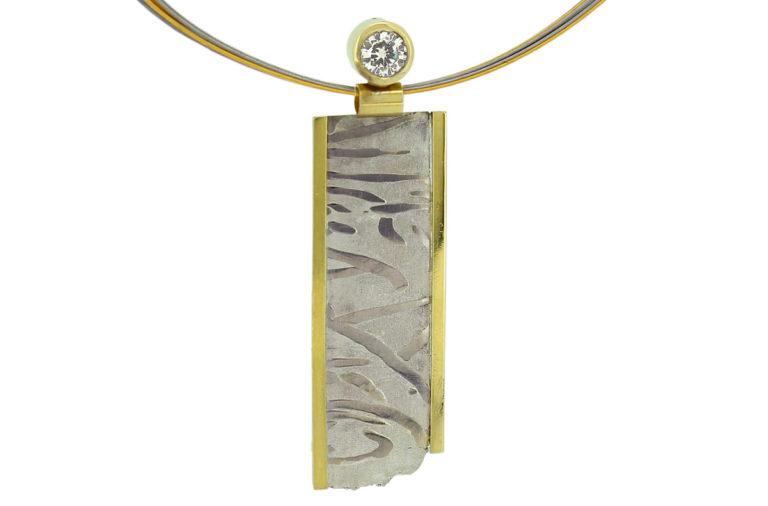 Mokume Gane Anhänger aus Silber, Palladium mit Gold und Brillanten