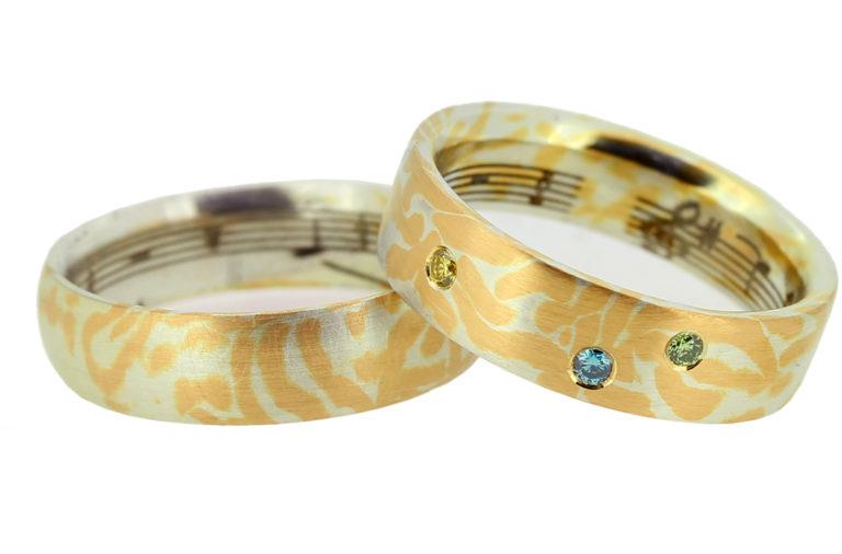 Mokume Gane Ring Gold Silber mit bunten Brillanten