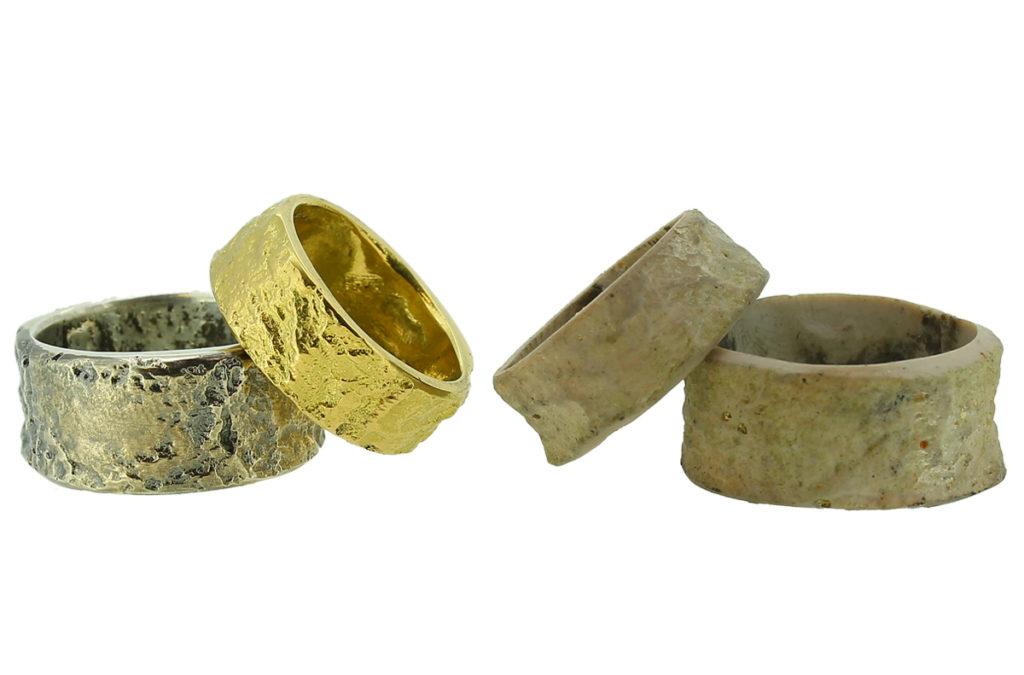 Eheringe Gold - Silber und Musterringe aus Fimo