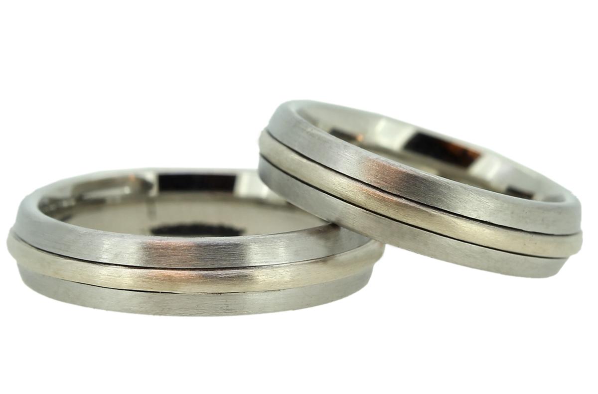 Palladium Ringe mit Weißgoldstreifen