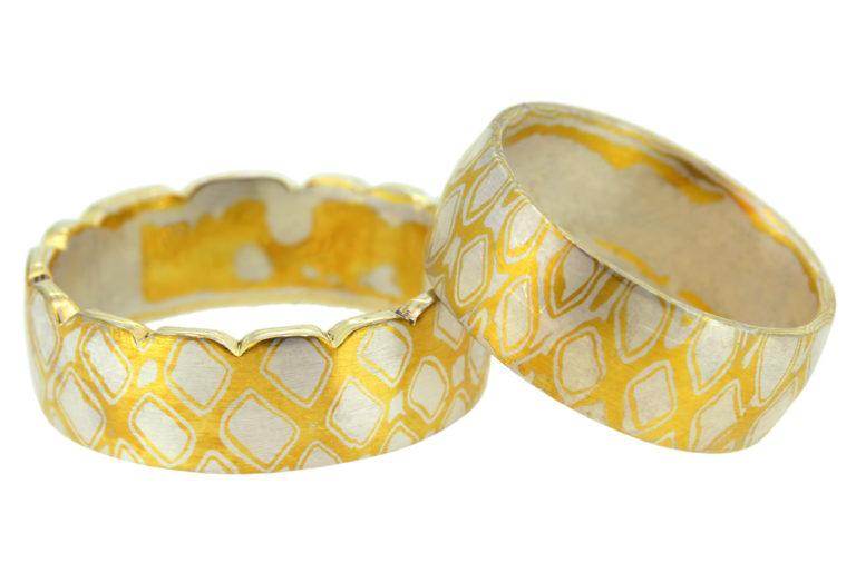 Mokume Gane Ring Gold Silber Rauten