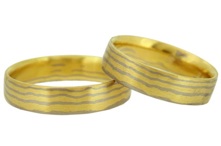 Mokume Gane Gelbgold Weißgold