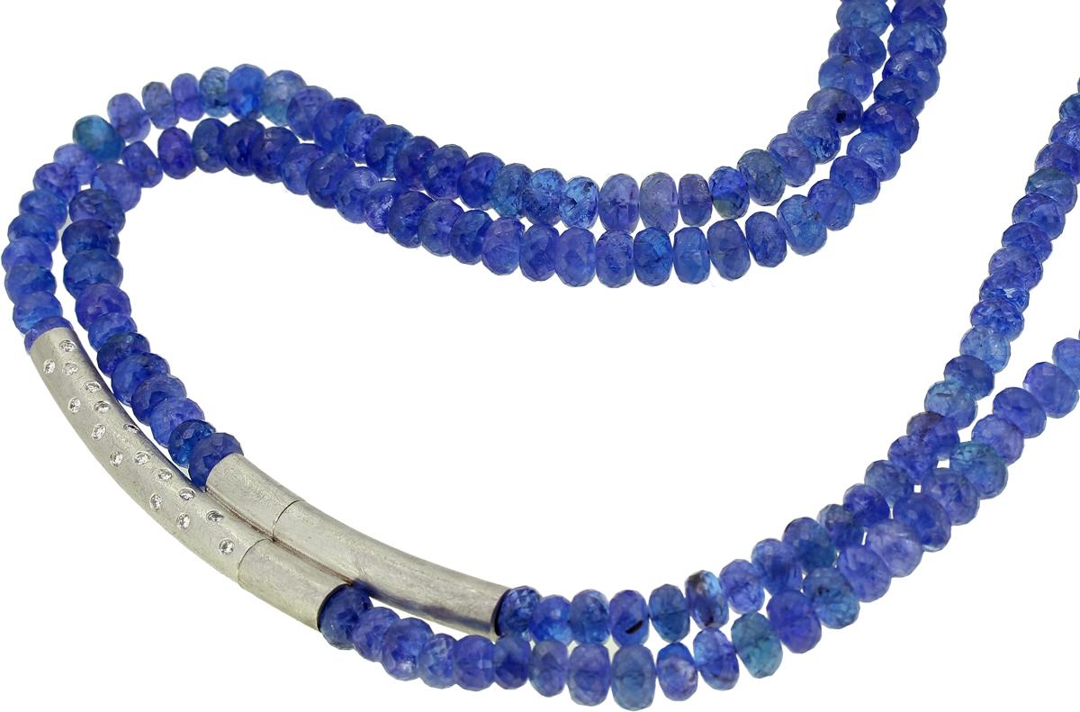 Tansanitkette mit Silberschließe