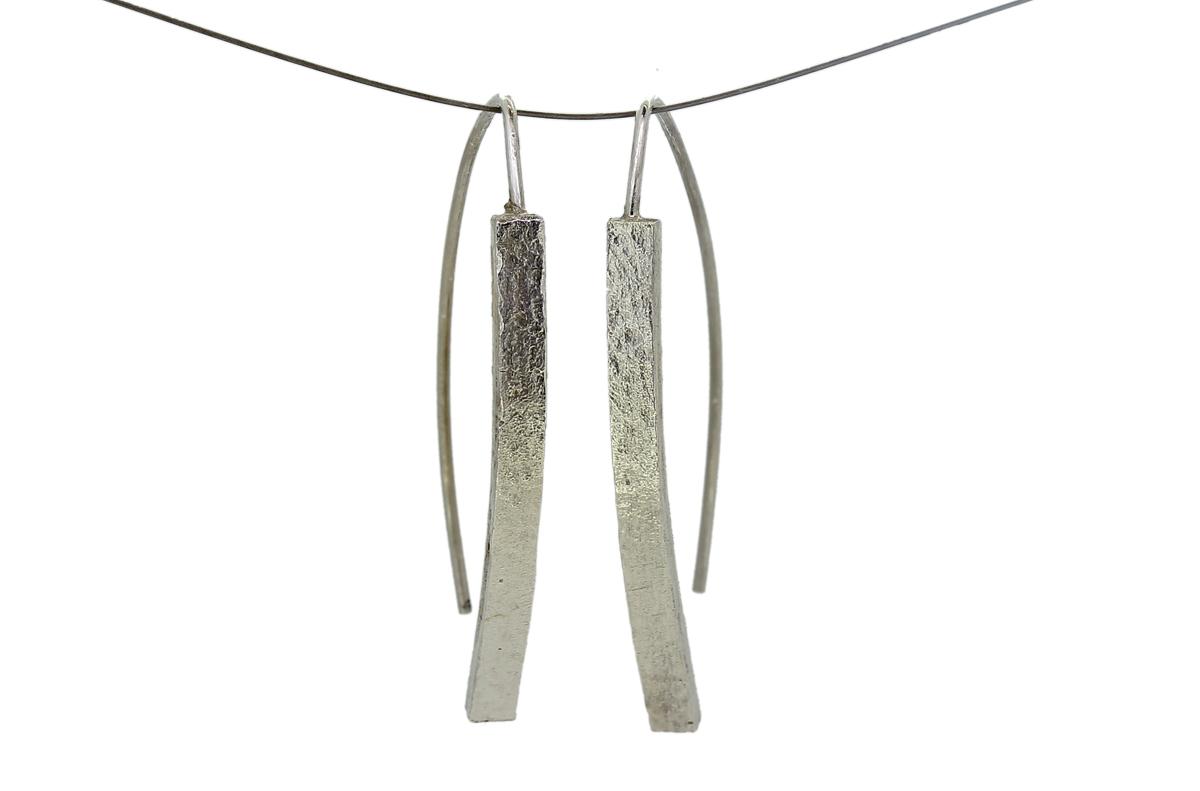 Silber Ohrhänger mit Gußstruktur