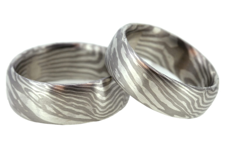 Mokume Gane Eheringe aus Silber Palladium
