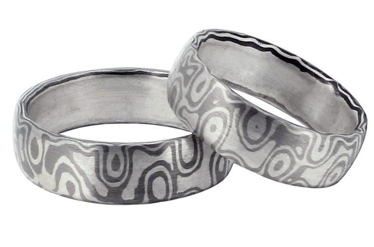 Mokume Gane Eheringe aus Palladium und Silber