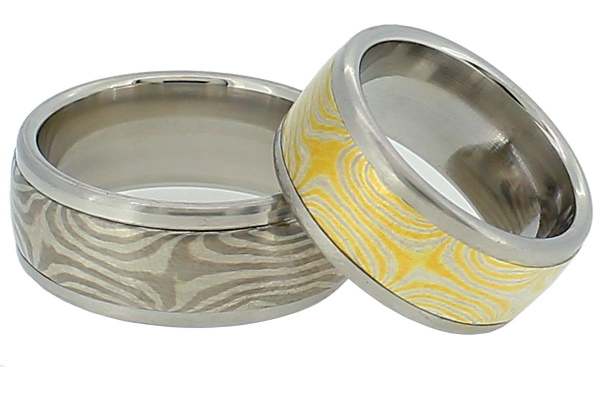 Mokume Gane Eheringe aus Platin, Gold und Silber