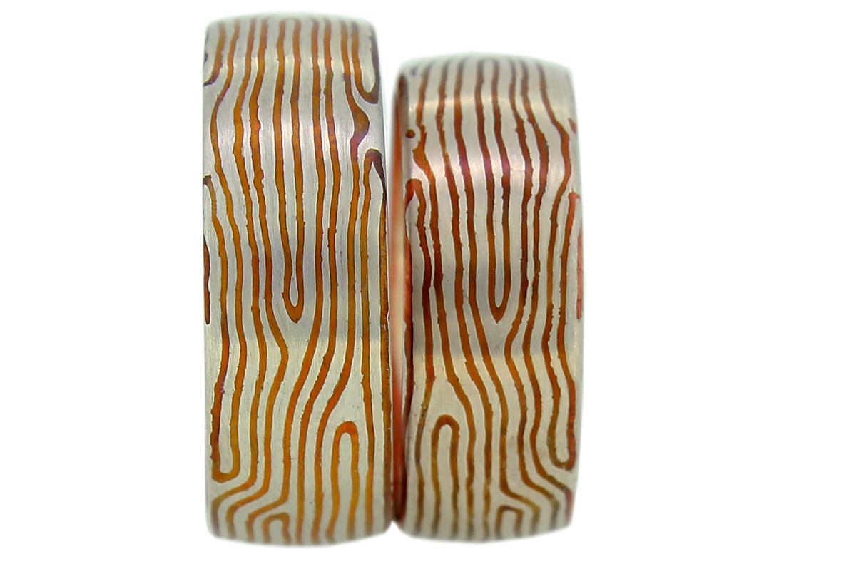 Mokume Gane Eheringe aus Silber und Kupfer