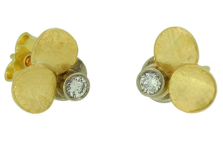 Gelbold Weißgold Ohrstecker mit Brillant