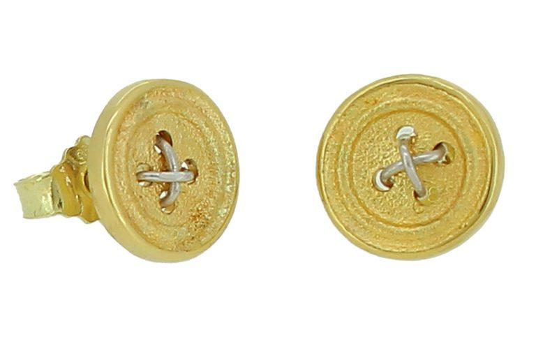 Knopfohrstecker Gelbgold mit Silber