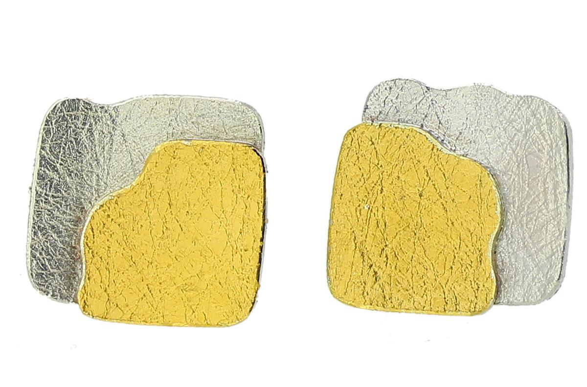 Ohrstecker aus Silber mit Gelbgold