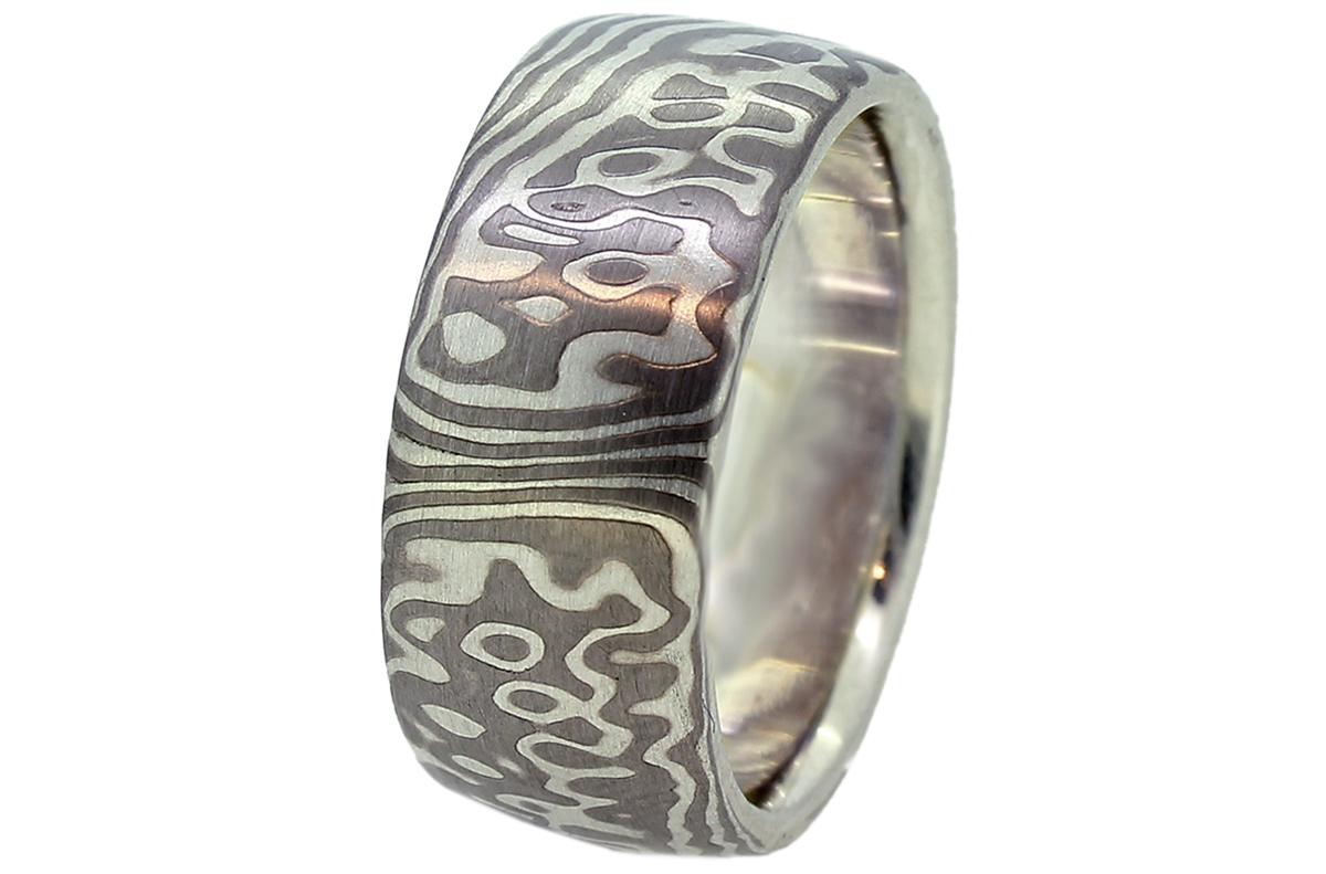 Mokume Gane Ring aus Silber und Palladium