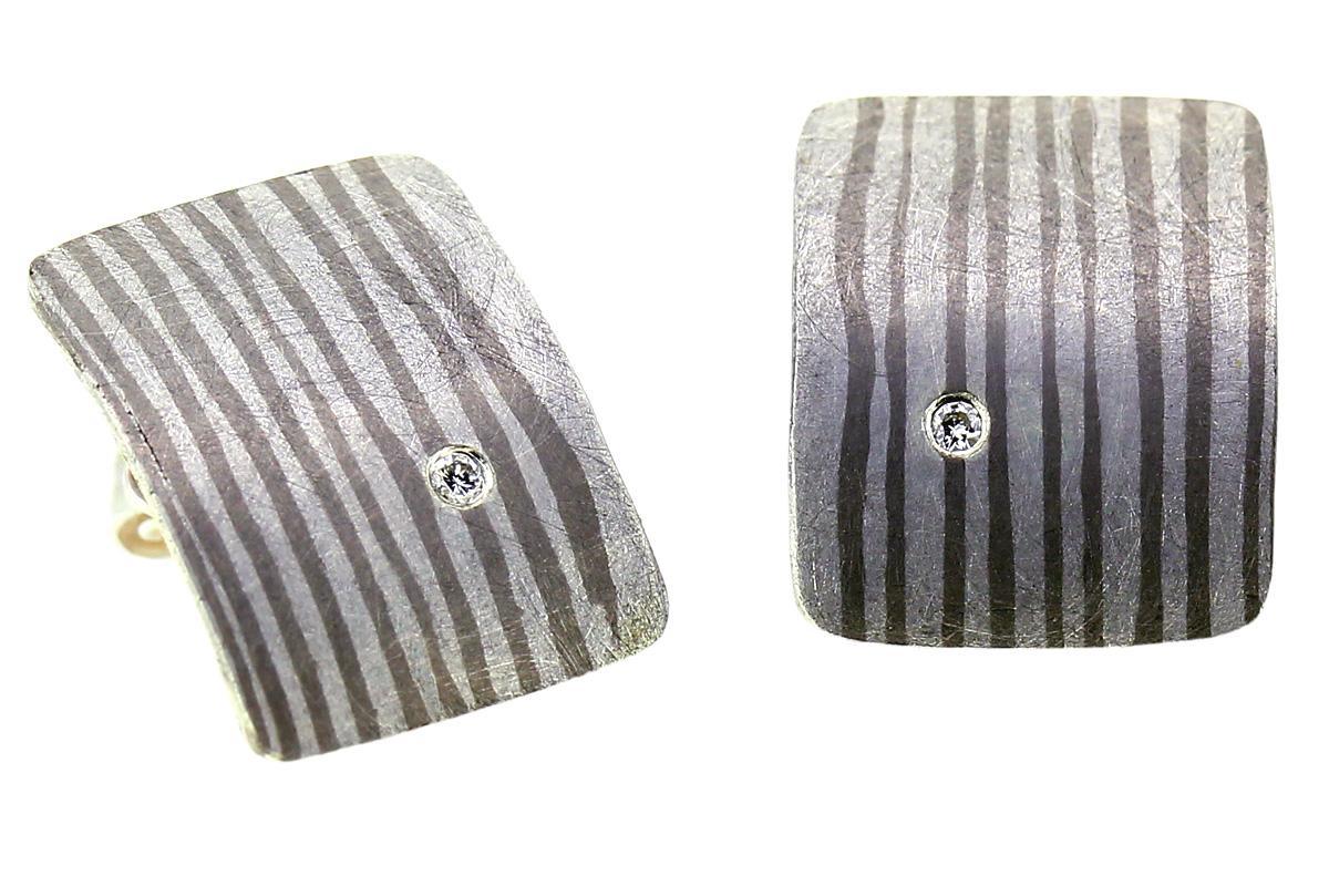 Mokume Gane Ohrstecker aus Palladium und Silber